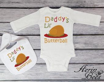 Daddy's Lil Butterball Thanksgiving Turkey Tee; Baby Bodysuit; Toddler Thanksgiving Shirt; Baby Bib Thanksgiving; *TG1406L
