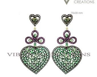 New 14k Gold Earring Diamond Earring, Natural Ruby Earring, gemstone earring Ruby Emerald Earring Stud Lock Earring wedding Purposal Earring