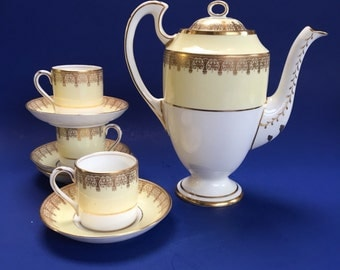 Lawleys Yellow & Gold China Espresso Coffee Pot, Cups and Saucers Vintage