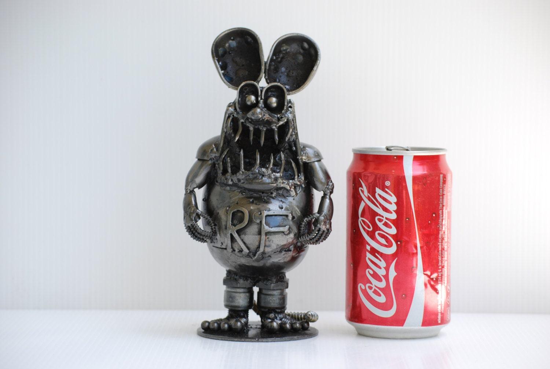 Rat scrap metal sculpture model recycled handmade art gift for