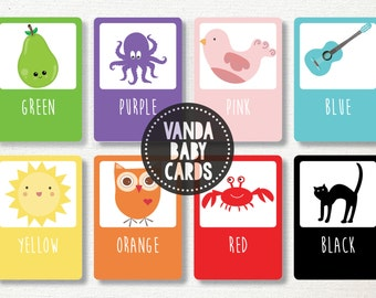 Colour Flash Cards | Color Flashcards | Toddler, Preschool, Kindergarten, Kids Educational Cards. Digital File, Print at home