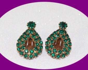 Vintage Green Rhinestone Earrings with Vintage Clip Back Vintage Jewelry Vintage Earrings