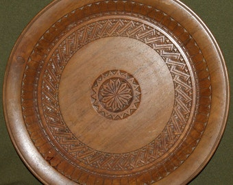 Vintage Hand Carved Wood Plate