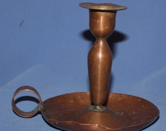 Vintage Hand Made Copper Candle Holder With Tray