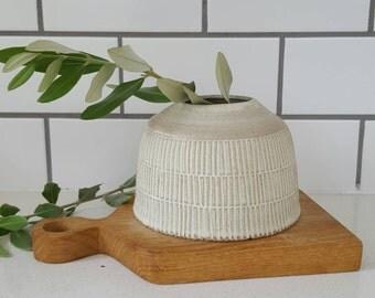 Handmade Handcarved Matte White Vase
