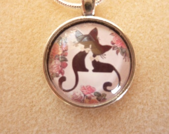 Cat Pendant 25mm  with Chain 16 inch