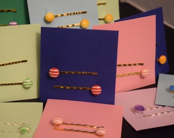 Button Bobby Pins/Hair Pins in Assorted Colors