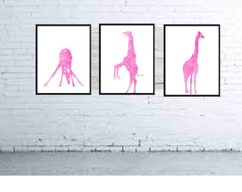 Giraffe Wall Art Giraffe Prints Nursery Prints Giraffe Watercolor Prints Kids Wall Art Set Set of 3 Prints Blue Teal Wall Art Nursery Decor