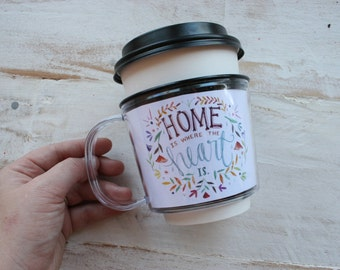 Home Is Where The Heart Is Floral Illustrated Coffee Cup Sleeve