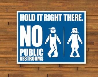 85 X 11 No Public Restroom Sign Print