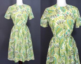 60's Shirtwaist Dress........60's Spring Green Paisley Shirtwaist Day Dress