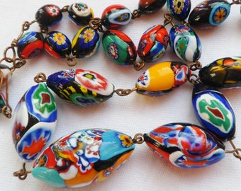 Antique 1920's Millefiori Glass Necklace. Early Millefiori Glass Wired Necklace. 1920's Vintage Jewellery.