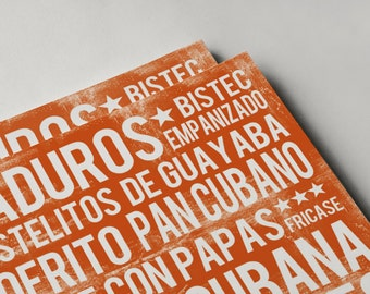 Cuban Food Poster - Orange - Word Art - Food Art Print