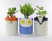 Woodland Planter Trio, Hand Painted Owl, Fox, Badger Plant Pots , Ceramic Pen Pots