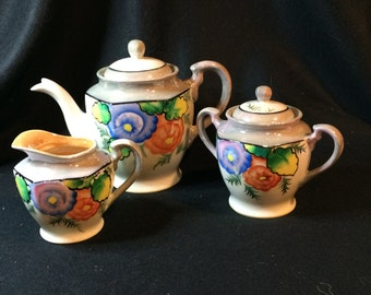 Vintage Japan Hand-painted, lustreware,Teapot, Creamer and Sugar