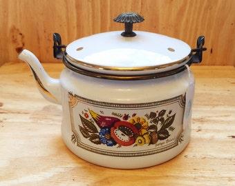 Georges Briard Enamelware Teapot, Vintage, Designer