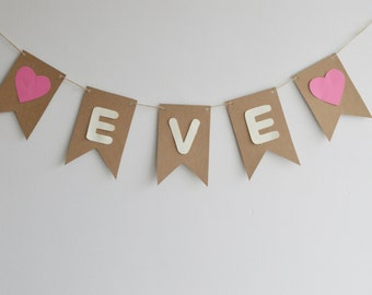 Custom Name Bunting, Children's Party Decoration, Birthday Girl Banner, Personalised Banner, First Birthday Party
