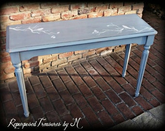 Shabby chic sofa table, entry table, gray table, distressed gray sofa table, distressed entry table, distressed sofa table, bird stencil