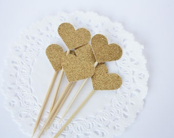 Gold Glitter. Heart Cupcake Toppers. Birthday Decor. Wedding Decor. Bridal Shower. Baby Shower. Sparkle. Cupcakes. Gold Decorations. Fun.