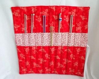 knitting needle holder, knitting needle roll, needle storage, knitting organizer, red and white  cotton fabric