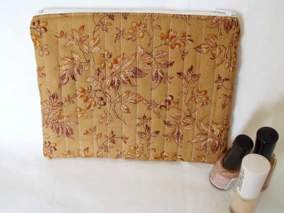 cosmetic bag, pencil case, coin purse, zipped pouch, make up bag, small quilted bag, tan and brown cotton fabric