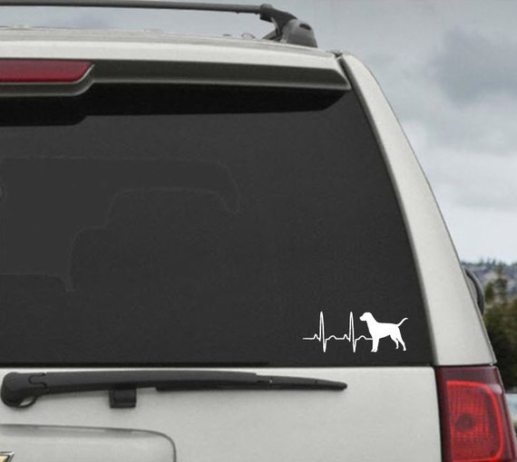 Labrador Retriever  Heartbeat EKG  - Car Window Decal Sticker