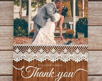 wedding thank you card, wedding thank you cards photo, wedding thank you cards printable, wedding thank you postcard, wood effect card, lace