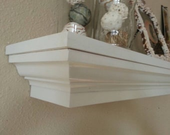 Crown Molding Floating Fireplace Mantel Shelf, white
