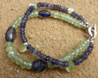 Faceted Prehnite and Iolite Double Strand Bracelet Karen Hill Tribe Silver Prehnite Bracelet Briolettes 2 Strand Artisan Gemstone Bracelet