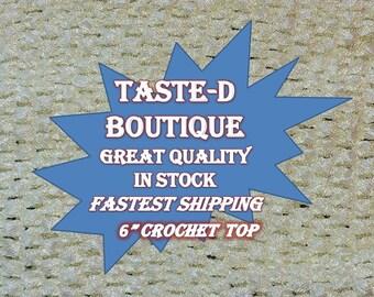 "6"" inch IVORY WHITE Unlined Crochet Tutu / Tube Top ( 6 x 6 )"