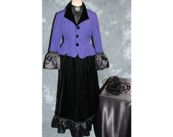 Victorian Style Costume / Caroling / Steampunk / Gothic / Riding Habit Costume-X-Small-Small (A106)