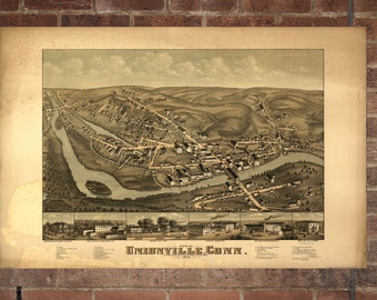 Unionville Connecticut Vintage Print Poster Map 1878 Poster of CT Map Art Wall Decor