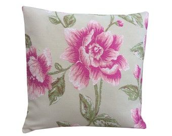 "Stunning hand made cushion cover/ Pillow case made from Laura Ashley fabric ""Milner ""cream ivory cerise pink flower/floral home,sofa,lounge"