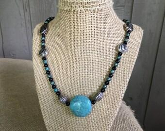 Beaded necklace/ Bali necklace/ turquoise necklace/ handmade necklace/ turquoise pendant/ pendant necklace/ Verdi Gris necklace/