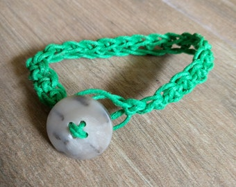 Crochet bracelet made from waxed cotton cord w/button