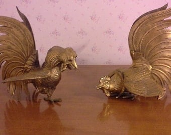 Vintage Pair of Solid Brass Fighting Roosters