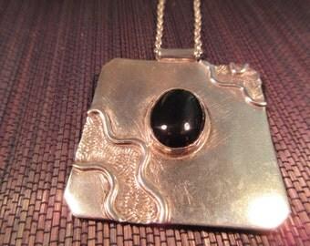 Modernist Sterling Silver Onyx Necklace