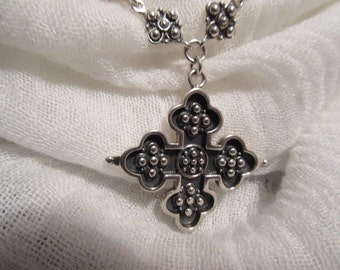 Boho Sterling Silver Heavy Necklace