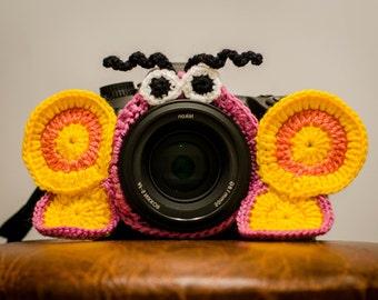 Camera lens buddy, camera accessories, lens buddy, crochet lens critter, crochet butterfly, photographer helpers, family photography
