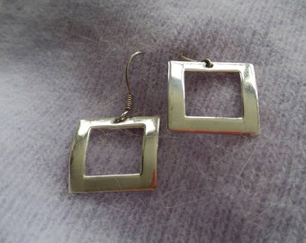 Sterling Silver Arched Square Earrings