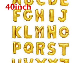 Largest Size 40inch Gold Alphabet A-Z 26 Letters Giant Balloon Happy New Year Birthdaay Wedding Party Decoration baloons