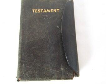 Antique leather bound new testament pocket bible 1910