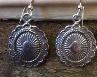 Sterling Silver Southwestern Concho Earrings
