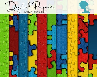 Autism Puzzle Pieces Digital Scrapbooking Papers, Proceeds to Charity. Instant Download