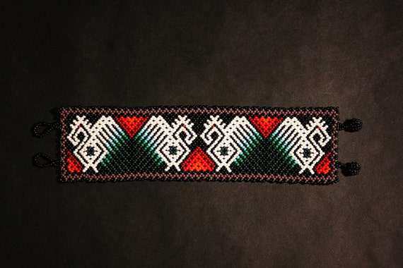 Huichol Eagle Bracelet, Beaded Eagle Bracelet, Native American Beaded Bracelet, Mother Spirit, Huichol Jewelry, Authentic