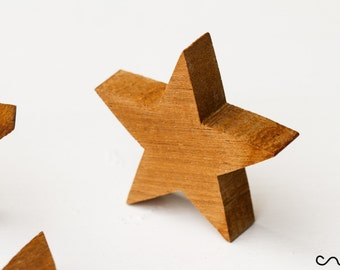 NEW Handmade Hand Cut Free Standing Solid Timber Wooden Star DIY Thick Stars