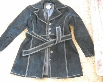 Black Suede Coat by Charlotte Russe, Size large, Detailed with white top stitching, suede tie belt, nice lining super warm