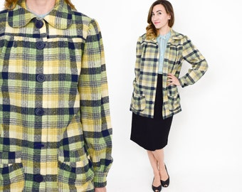 50s Green Wool Plaid Short Coat | Large