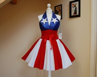 Captain America inspired dress ,cosplay dress,USO girl dress,American flag dress