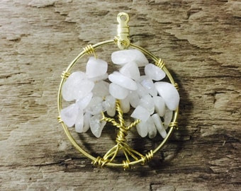 Moonstone on Gold Tree of Life Pendant